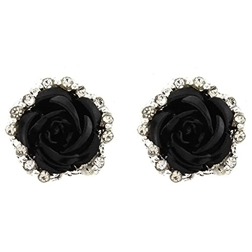 Sterling Silver Plated Cubic Zirconia Shining Black Coral Carved Rose Flower Womens Stud Earrings ()