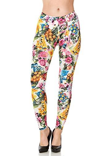 (CARNIVAL Women's Full-Length Printed Soft Microfiber Legging, Spring Blossom, Small)