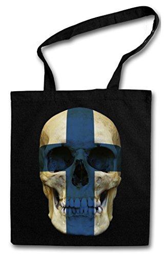 CLASSIC FINLAND SKULL FLAG Hipster Shopping Cotton Bag Cestas Bolsos Bolsas de la compra reutilizables - Bandera cráneo Schädel Banner Fahne Finnland Finlandia