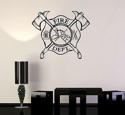 Vinyl Wall Decal Fire Department Emblem Shield Firefighte...