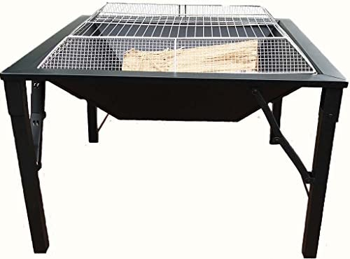 Zynuo 27 Inch Big Black Metal Square Design Charcoal and Wood Log Burning BBQ Grill Outdoor Foldable Portable Patio Fire Pit