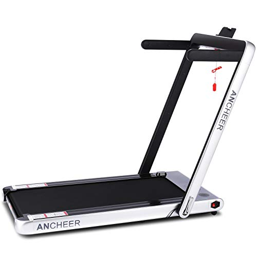 ANCHEER Under Desk Folding Treadmill,2 in1 Electric Exercise Treadmill,2.25HP Fitness Walking Running Machine with Remote Control&Digital Monitor&Bluetooth Speaker for Home Gym Office. (Blue)