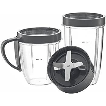 NutriBullet Cups & Blade Replacement Parts Set by Preferred Parts | Premium NUTRiBULLET High-Speed Blender Accessories Deluxe Upgrade Kit (Gray) by Preferred Parts