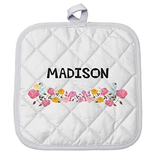 - Personalized Custom Text Flower Frame Girls Name Polyester Pot Holder Trivets