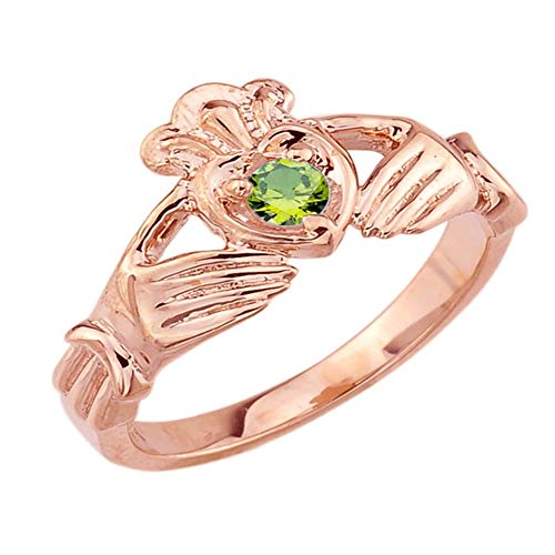 Women's Fine 14k Rose Gold Custom Personalized CZ Heart August Birthstone Claddagh Ring (Size 12)