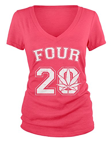 Amdesco Junior's Four 20, Marijuana Leaf, Pot Smoking Time V-Neck T-Shirt, Azalea Large