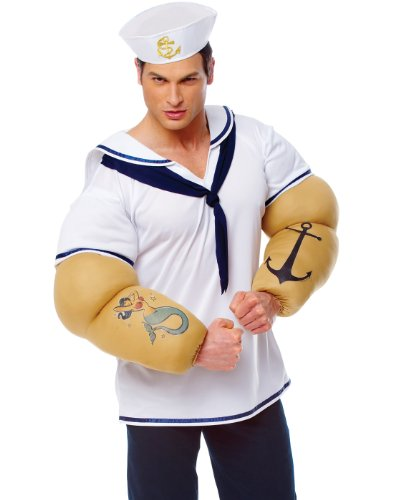 Sailor Shirt With Big Arms Popeye Mens Stag Party Halloween Costume XL