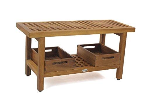 "AquaTeak The Original 36"" Grate Teak Shower Bench With Shelf & Two Moa Small Trays -  AquaTeak®, 35022"