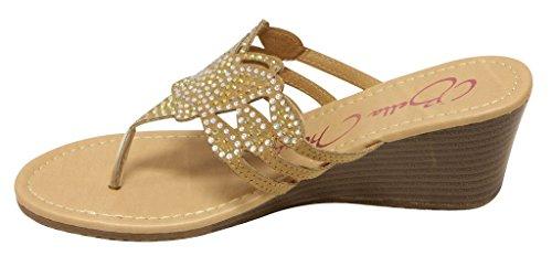 Anna Barbie-02 Sandalo Infradito Donna Con Strass T-strap Con Zeppa Infradito Marrone Chiaro