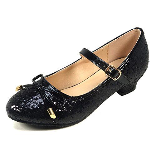 Nova Utopia Girls Low-Medium Platform Sandal Shoes NF Utopia Girl NFGF059H Black (Black Flower Girl Shoes)