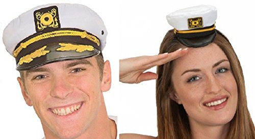 Couples Yacht Hat Set Mini Hat Headband Boat Captain Sailor Ship Cap White Gold (Ahoy Matey Mens Adult Costume)
