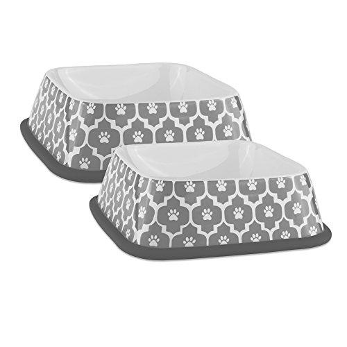 Lattice Rim - Bone Dry DII Lattice Square Ceramic Pet Bowl for Food & Water with Non-Skid Silicone Rim for Dogs and Cats (Large - 6.75
