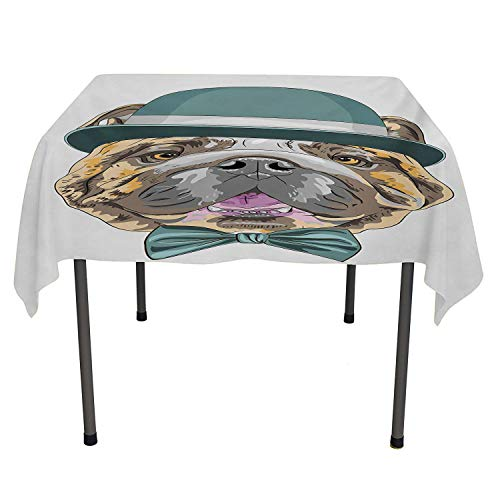 English Bulldog Dining Table Cover Dog in a Hat and Bow Tie Animal Design with Formal Attire Pure Breed Teal Brown Pink Washable Outdoor Table Cloth Spring/Summer/Party/Picnic 70 by 70]()