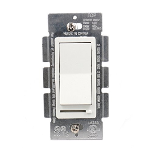 Baomain Decora Slide Dimmer LED/CFL/Incandescent Single-Pole/3-Way 120V 600W on/off switch White (Decora Slide Dimmer)