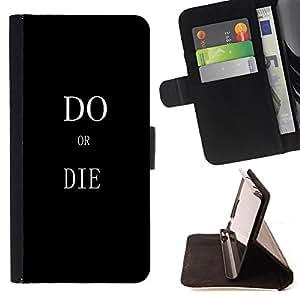 Dragon Case- Mappen-Kasten-Prima caja de la PU billetera de cuero con ranuras para tarjetas, efectivo Compartimiento desmontable y correa para la mu?eca FOR Apple iPhone 6 6S 4.7 - Do or Die Kidding