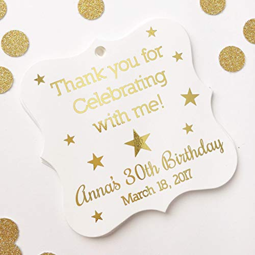 Thank you for Celebrating with me! Color Foil Star Themed Event Favor Tags (FS-383-F) ()