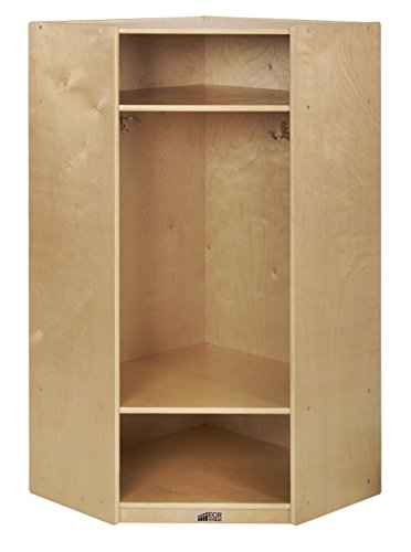ECR4Kids Birch School Coat Locker for Kids and Toddlers with Bench, Natural, Casillero sin banquillo, Natural, Corner Section