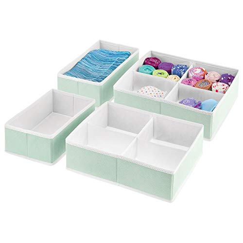mDesign Soft Fabric Dresser Drawer and Closet Storage Organizer Bins for Bedroom Closet, Dresser Tops, Drawers - 4 Pieces, 10 Compartments - Textured Print - Mint Green