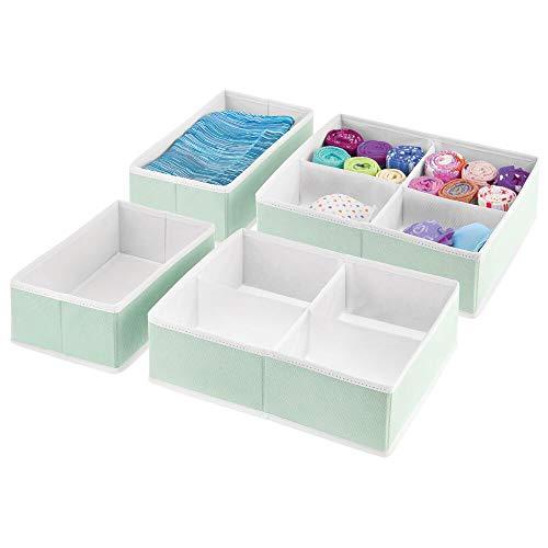 mDesign - Cajones para armarios de tela suave y organizadores de almacenamiento para armario de dormitorio, encimeras, cajones, Estampado texturizado.
