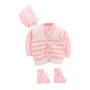 Hopscotch Bubbles Girls Wool Full Sleeves Sweaters in Pink Color