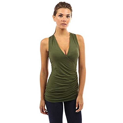 PattyBoutik Women's V Neck Ruched Side Tank Top (Olive Green S)