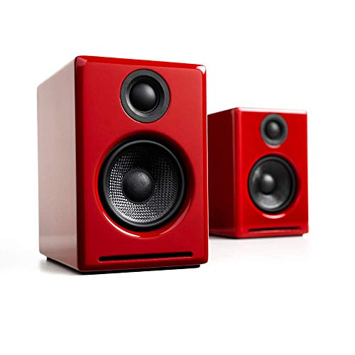 Audioengine A2+ Wireless 60W Powered Desktop Speakers, Bluetooth aptX Codec, Built-in 16Bit DAC and Amplifier (Red)