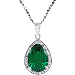 Pear Cut Simulated Green Emerald & Natural Diamond Drop Pendant Necklace 925 Sterling Silver (5.47 Ct)