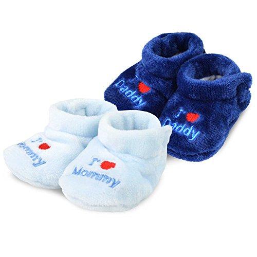 TeeHee Kids Fun and Cozy Baby Fleece Booties 2-Pack (0-6M, Navy & Blue)