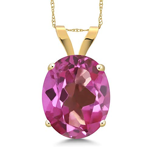 3.60 Ct Oval Pink Mystic Topaz 14K Yellow Gold Pendant With Chain