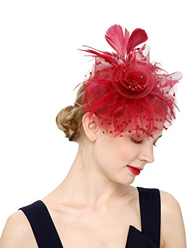 (Cizoe Flower Cocktail Tea Party Headwear Feather Fascinators Top Hat for Girls and Women(1-burgundy))