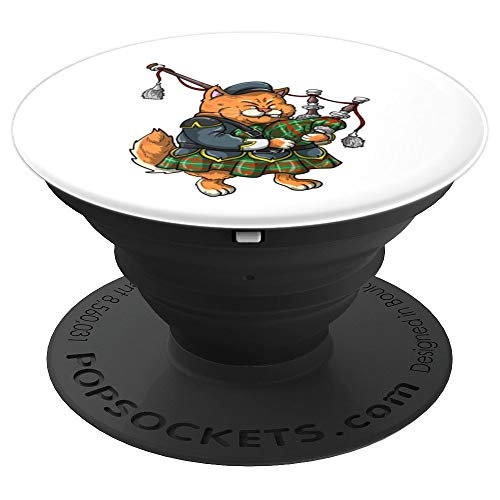 Funny Cat Playing Bagpipes | Cool Animal Lover Musician Gift PopSockets Grip and Stand for Phones and Tablets