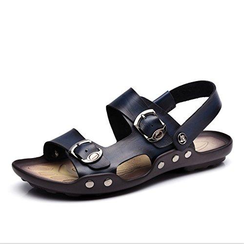 24 0 spiaggia 0 Dimensione Uomo Blu 27 CM Marrone pantofole Scarpe Sandalo Antiscivolo Pantofole da EU Colore 3 Outdoor 41 Scarpe Cool Wagsiyi Traspiranti Leather Blu 1 7P6wUUq