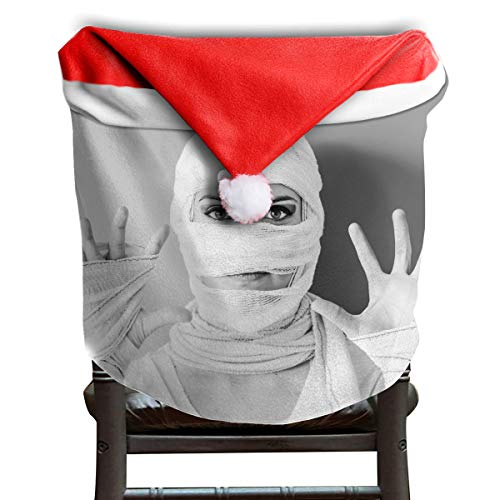 EDYE Halloween Girls Women Mummy Bandages Christmas Xmas Themed Dinning Seat Chair Cap Hat Covers Ornaments for Backers Slipcovers Wraps Coverings Decorations Protector Set -