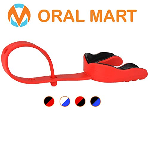 Oral Mart (Red/Black Sports Mouth Guard with Strap (Hockey/Football/Lacrosse) - Cushion Sports Mouth Guards for Football, Hockey, Lacrosse, College Football (Comes with Case)