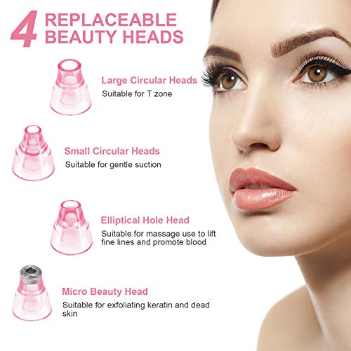 Blackhead Remover Pore Vacuum – Electric Blackhead Vacuum Cleaner Blackhead Extractor Tool Device Comedo Removal Suction Beauty Device for Women(Pink)