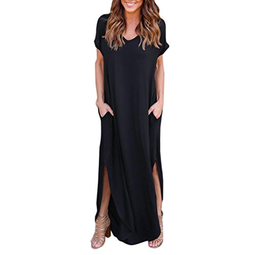 Kimloog Women's Short Sleeve Summer Casual Loose T-Shirt Long Maxi Dress Side Split Beach Sundress (L, Black)