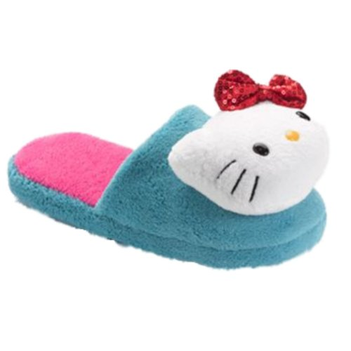Womens Blauwe Hello Kitty Pantoffels Met Rode Lovertjes Strik