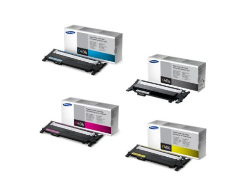 Samsung Part# CLT-K406S. CLT-C406S. CLT-M406S. CLT-Y406S Toner Cartridge Set (OEM)