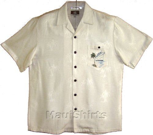 Ocean Liner Men's Hawaiian Aloha Embroidered Jacquard Rayon Shirt in Beige - 2X