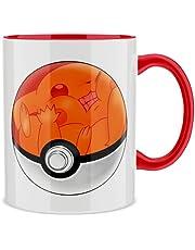 Mok met gekleurd handvat en interieur (Rood) - Parodie Pokémon - De Poke Ball van Pikachu (Hoogwaardig Mok - bedrukt in Frankrijk - Ref : 418)