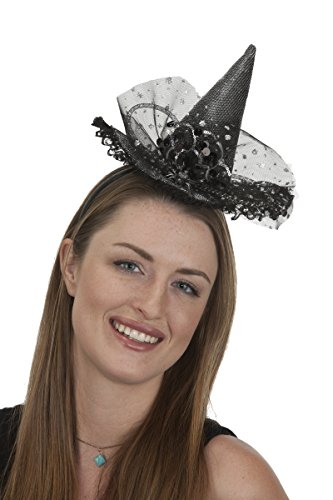 27261 Mini Witch Hat On Headband Rhinestones And Silver (Sexy Rhinestone Witch Costumes)