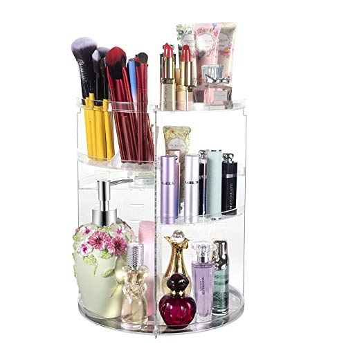 360° Rotating Makeup Organizer, Spinning Bathroom Organizer Countertop, Carousel Vanity Organizer, Cosmetic Organizer…