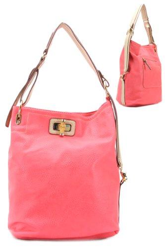 Fashion Accessories Handbag Lock Closure One Zip Open Pockets Inside Two Blue