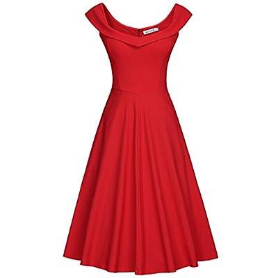 MUXXN Women's 1950s Scoop Neck Off Shoulder Cocktail Dress: Clothing