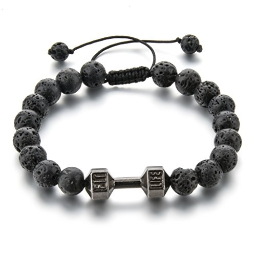 (Manhattan Edge Adjustable Lava Rock Beaded Bracelet Essential Oil Diffuser for Men Aromatherapy Ideal for Anti-Stress or Anti-Anxiety, Clean Look & Edgy