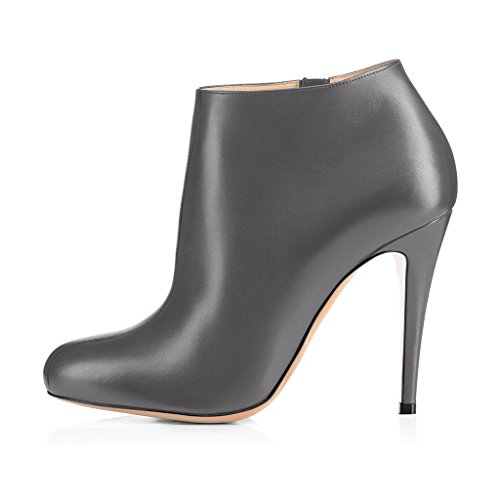 with 4 Grey 15 US Ankle Booties Size Zipper Women Stiletto FSJ Side Heels Almond Toe Shoes Comfy Fashion S6qwTvA