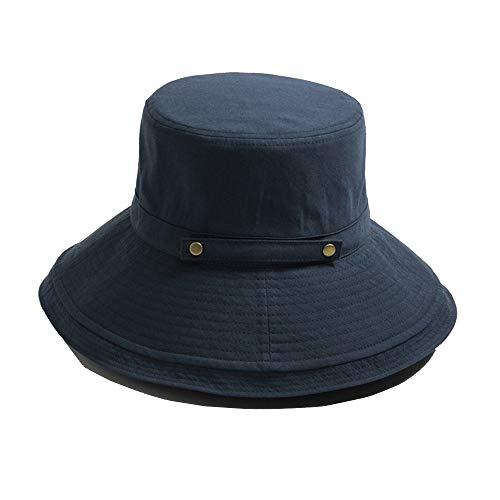 MEETGG Sun Hats Foldable Fully Reversible Outdoor Activities Cap Bucket Fishmen Hat Unisex Cap with Neck Flap Rotection Adjustable,Navy