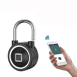 41Z9rFUSacL. SS300 Ancoree Smart Bluetooth Impronte Digitali Biometrico Portatile IP65 Impermeabile lucchetto Sicuro all'aperto Sicurezza…