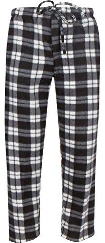Premium Lounge Pants for Men - Luxurious Coral Fleece - Adjustable Size - M White & Black Plaid (Lounge Fleece Pants Plaid)