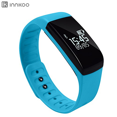 Waterproof Fitness Tracker Pedometer, InnKoo U8 Activity and Sleep Monitor Sports Watch Band Calories Counter Smart Bracelet Wristband, Touch Screen Bluetooth Sync Long-time Standby (Blue)